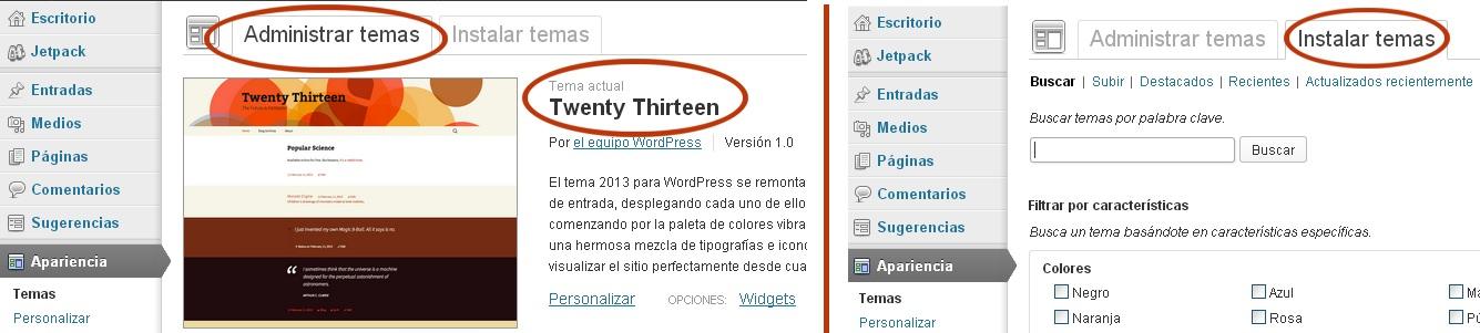 Administrar Temas WordPress