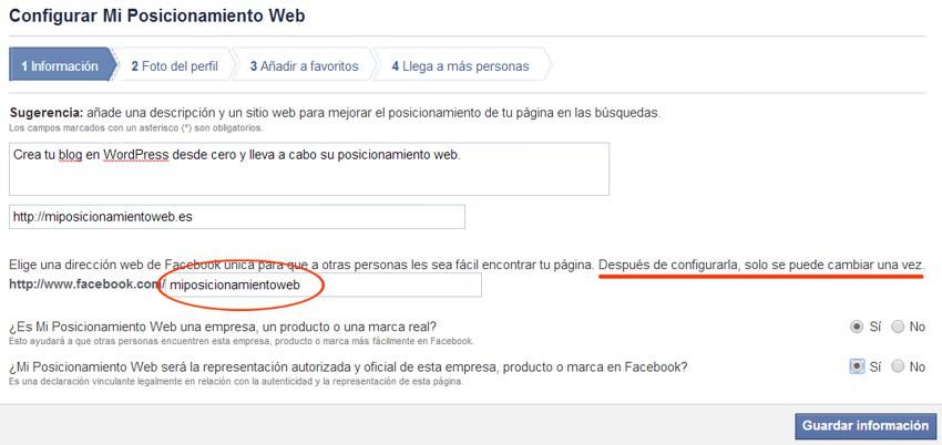 Configurar página de Facebook paso 1