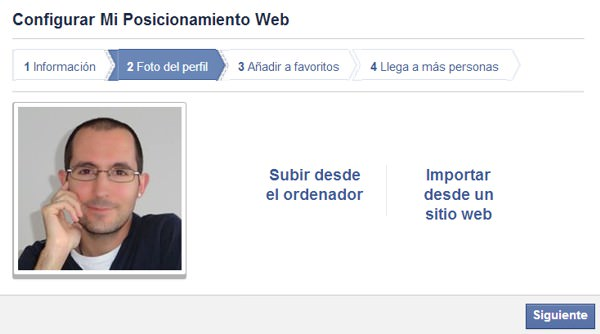 Configurar página de Facebook paso 2