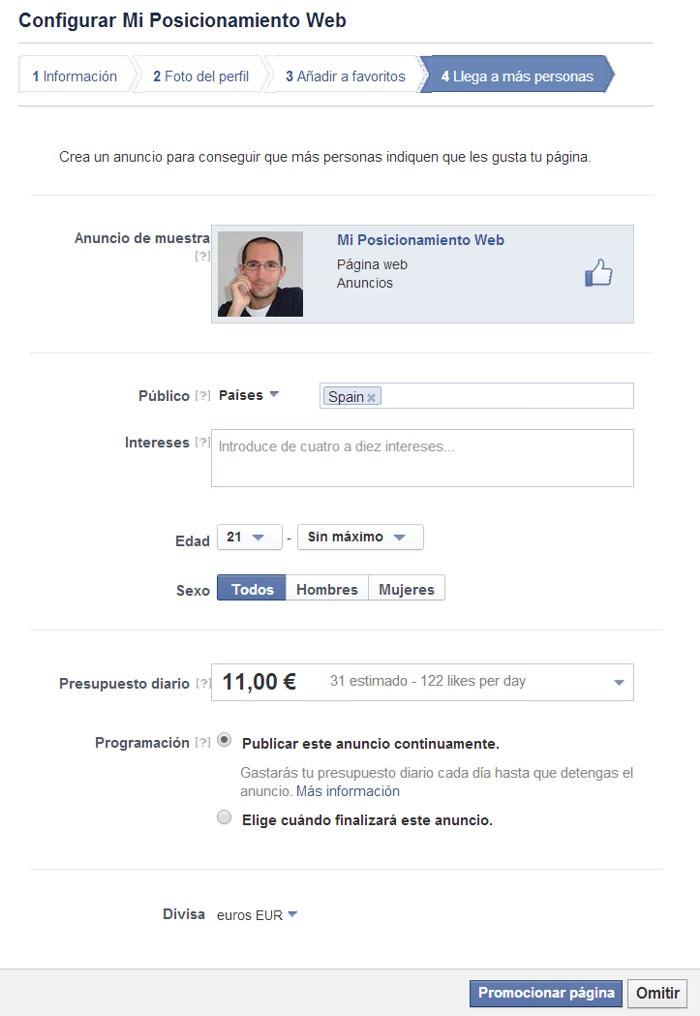 Configurar página de Facebook paso 4