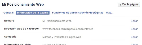 Editar información página de Facebook