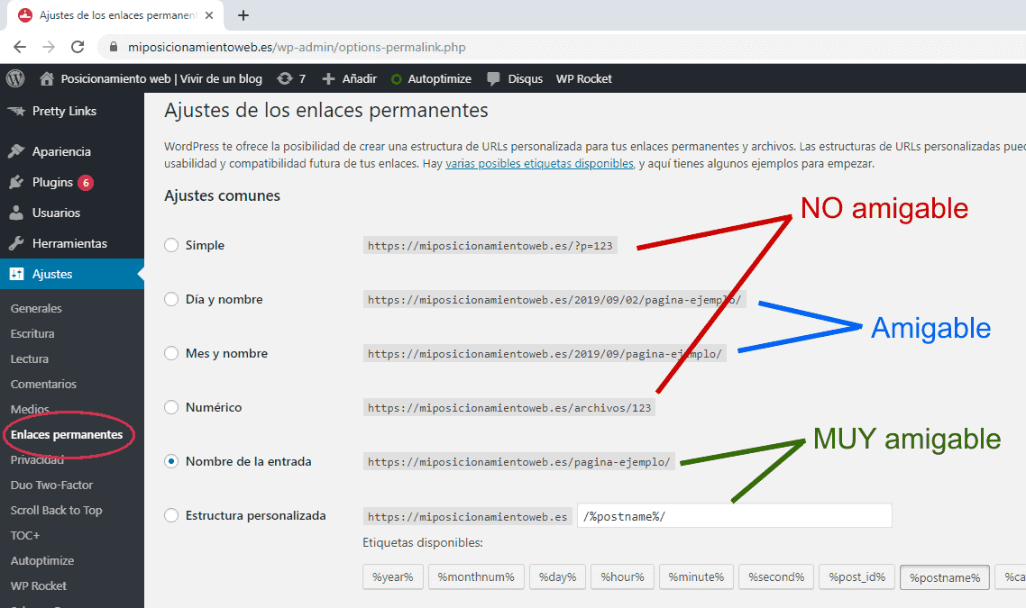 URLs amigables en WordPress