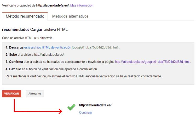 Verificar un sitio a Google Webmaster Tools