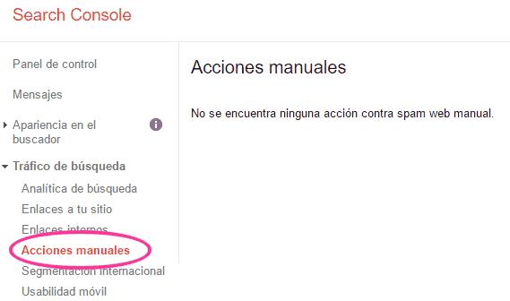 Acciones manuales en Search Console
