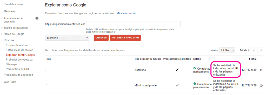 Explorar como Google en Search Console