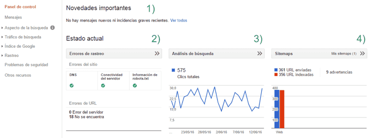 Panel de control de Search Console (Google Webmaster Tools)