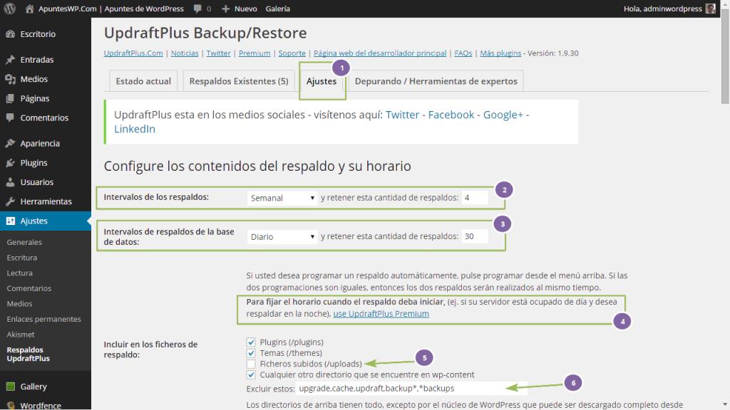 Copia seguridad wordpress plugin. Definiendo los ajustes de UpdraftPlus