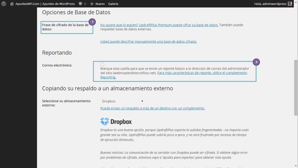 Copia seguridad wordpress plugin. Definiendo los ajustes de UpdraftPlus (2)