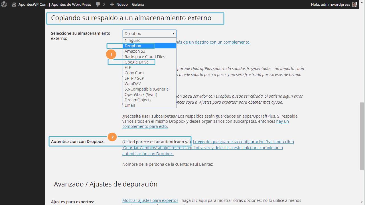 Copia seguridad wordpress plugin. Definiendo los ajustes de UpdraftPlus (3)