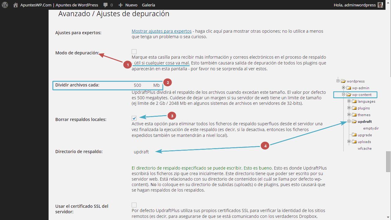 Cómo hacer un backup de WordPress. Herramientas para expertos UpdraftPlus (2)