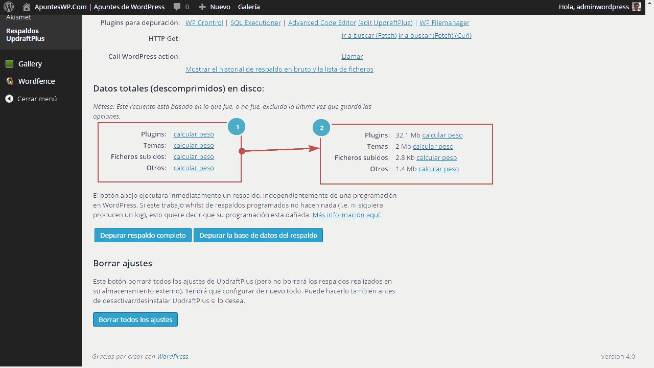Cómo hacer un backup de WordPress. Herramientas para expertos UpdraftPlus (3)