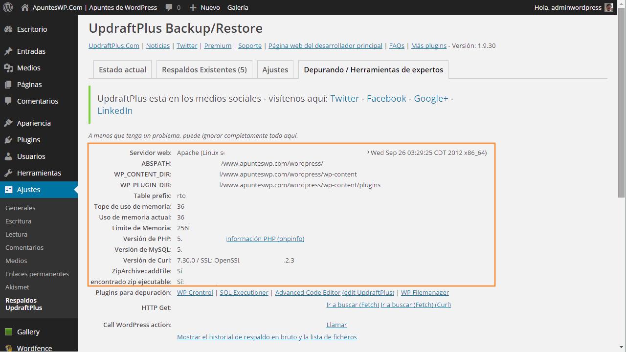 Cómo hacer un backup de WordPress. Herramientas para expertos UpdraftPlus (1)