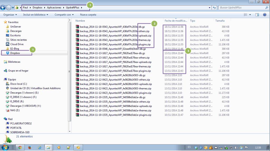Copia seguridad wordpress Dropbox. Revisando el contenido de la copia en Dropbox (2)