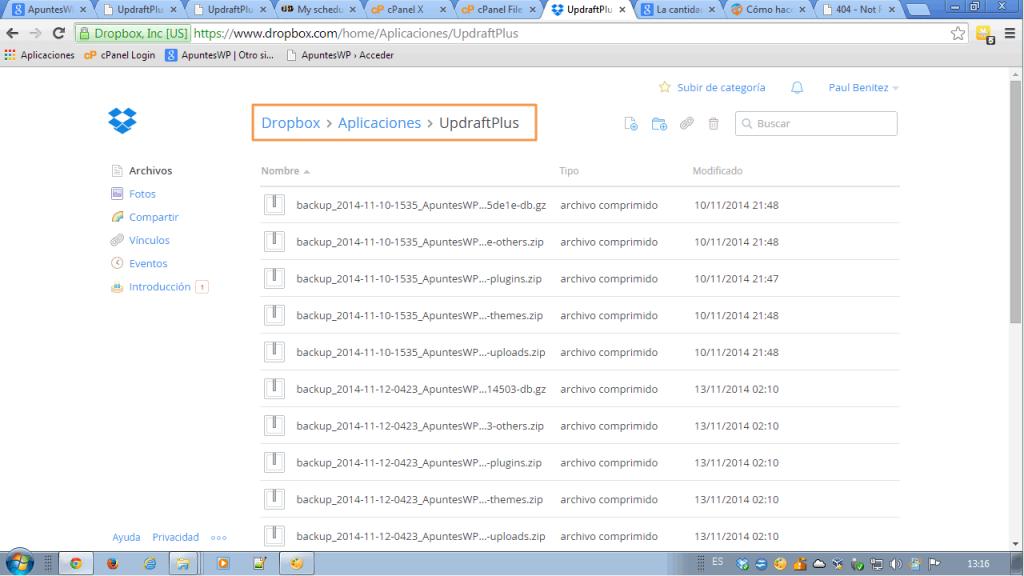 Copia seguridad wordpress Dropbox. Mis copias en Dropbox (1)