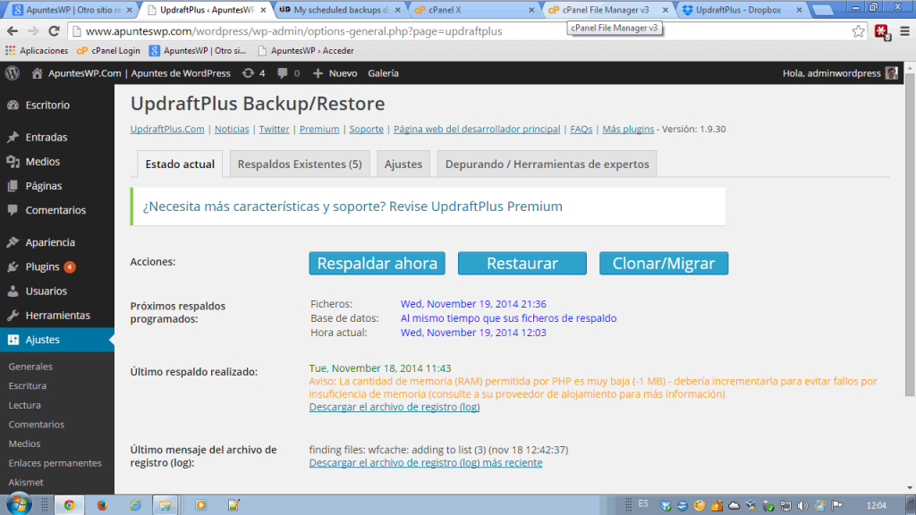 Copia de seguridad blog wordpress. Pestaña estado actual de UpdraftPlus