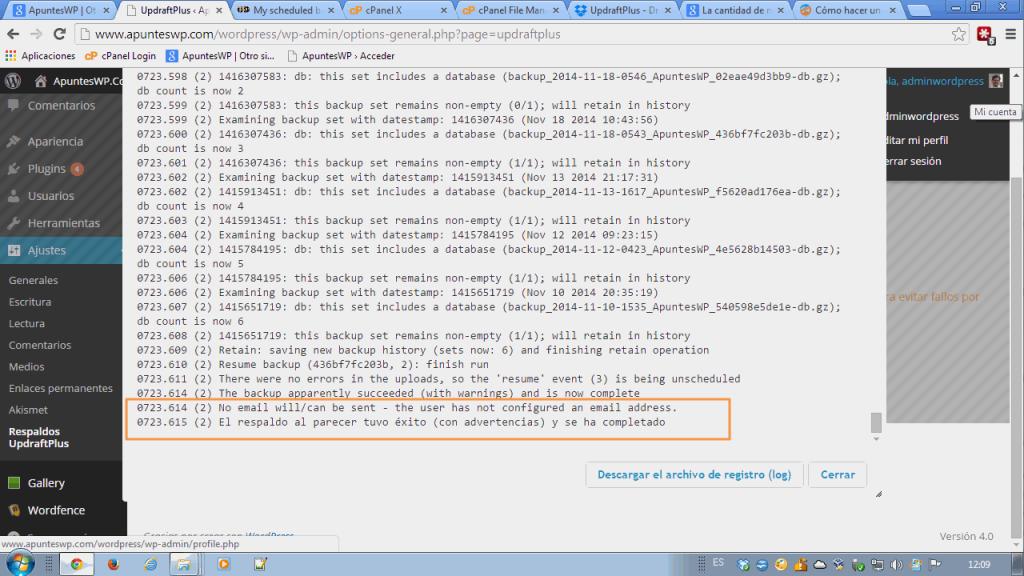 Cómo hacer un backup de WordPress. Comprobando el log de actividad.