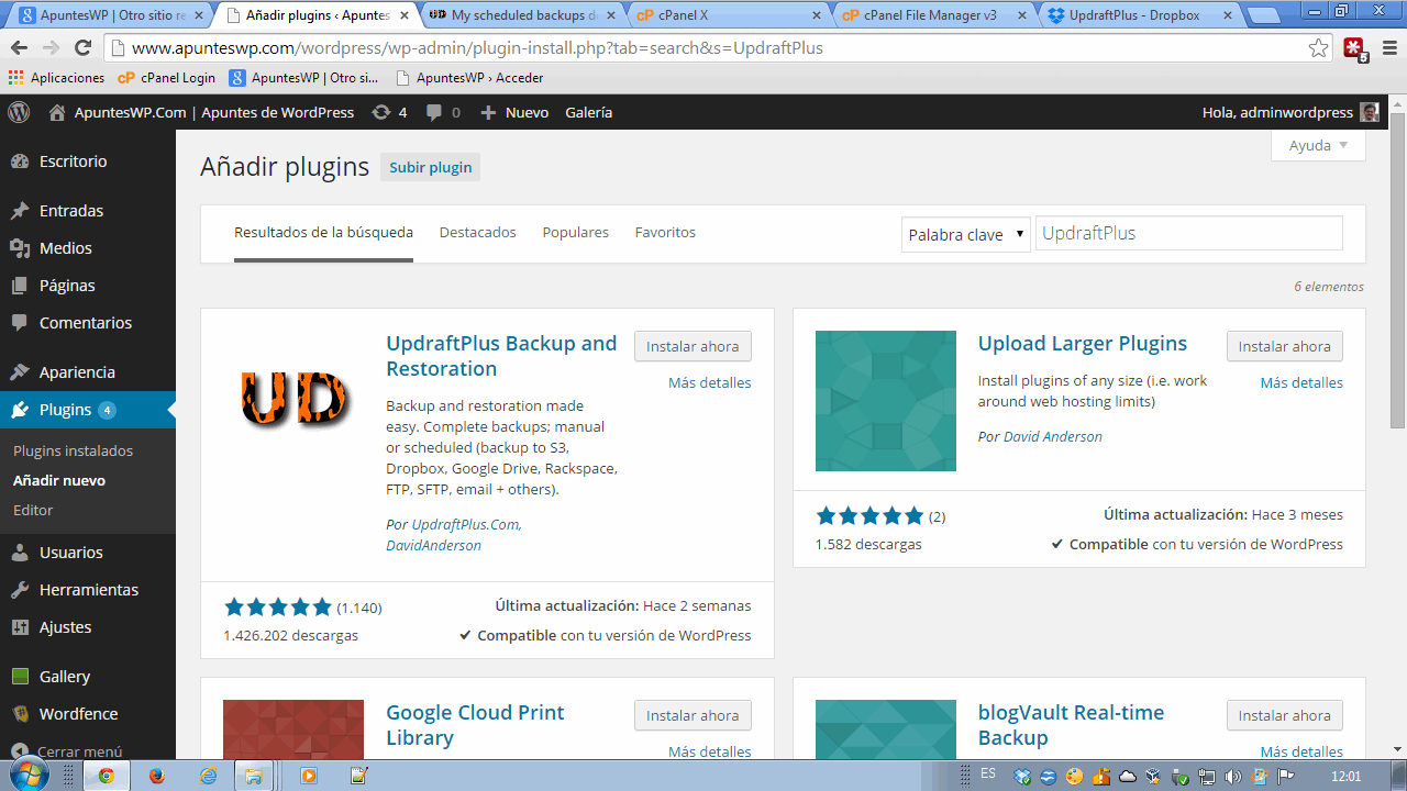Cómo hacer un backup de WordPress. Instalar plugin UpdraftPlus (2)