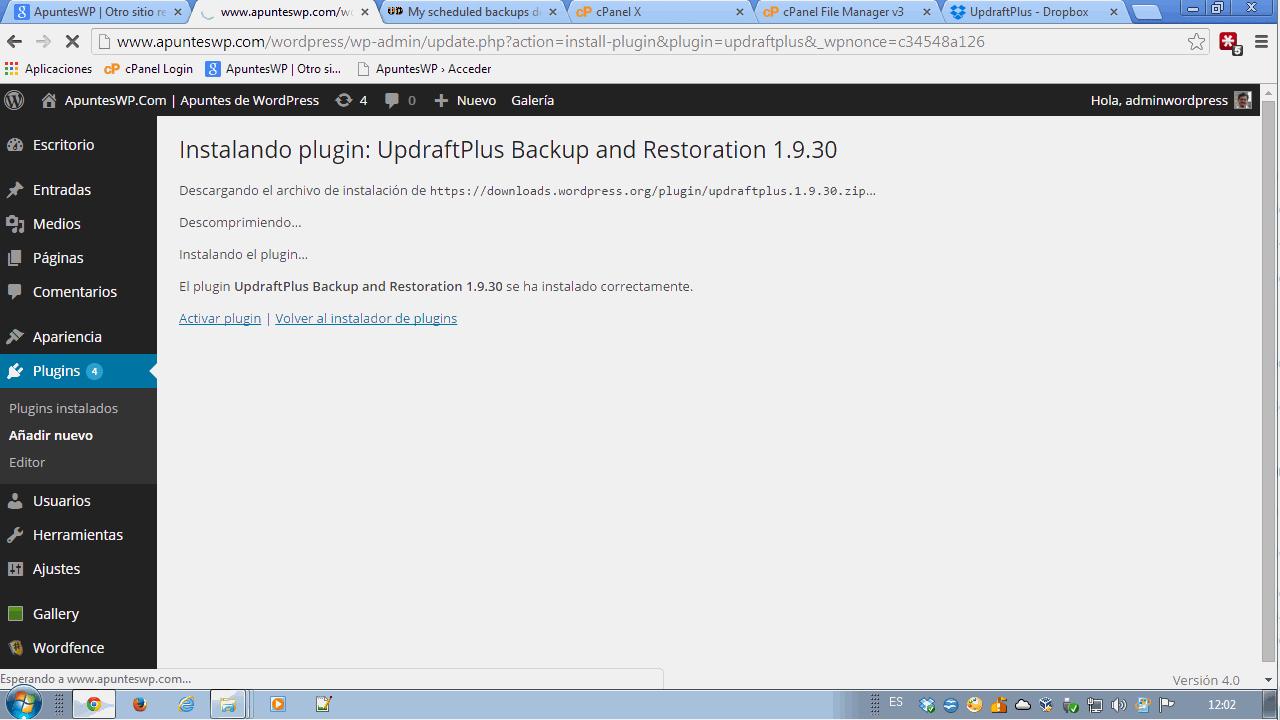 Backup en WordPress. Activar el plugin UpdraftPlus