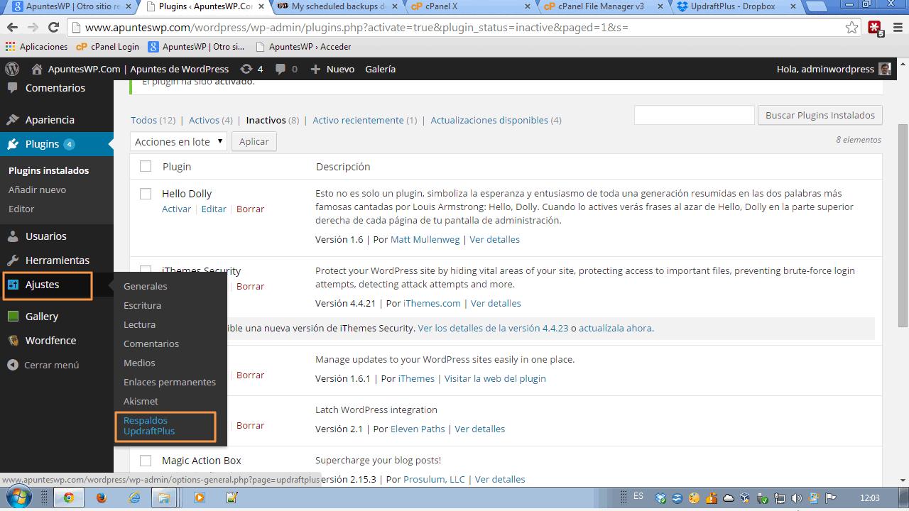 Copia seguridad completa WordPress. Empezamos a configurar el plugin UpdraftPlus