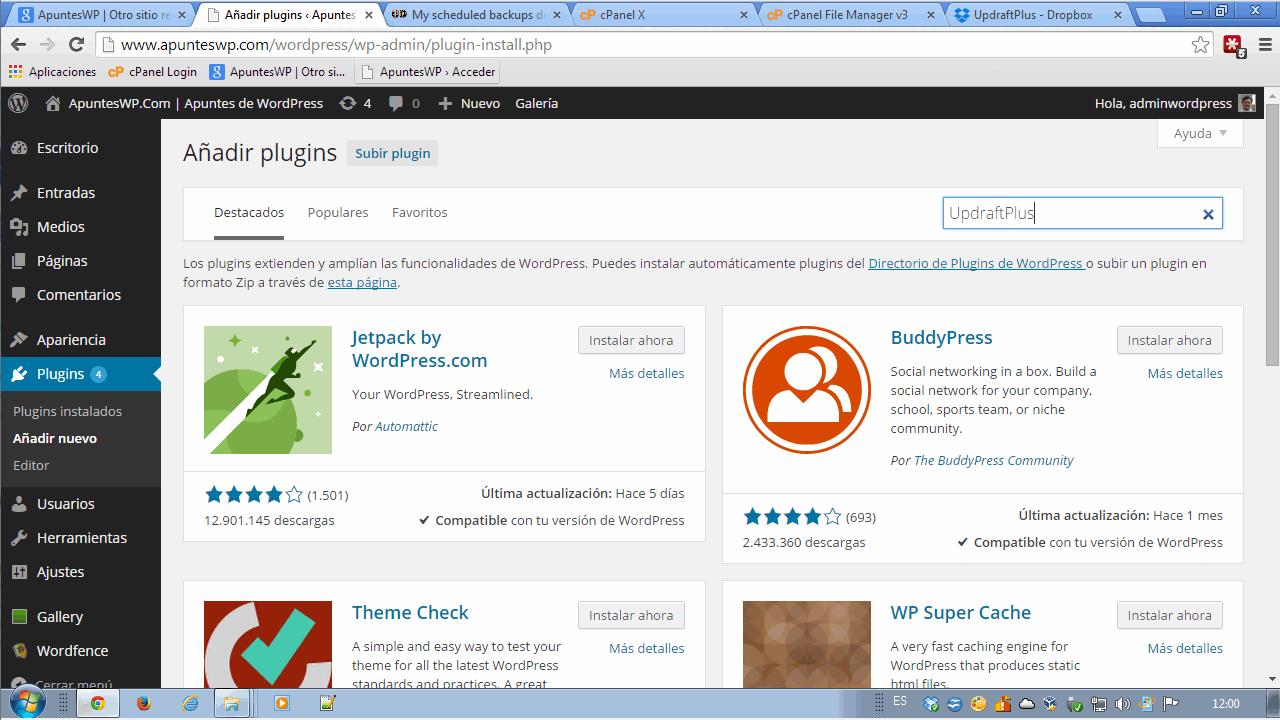 Copia de seguridad WordPress. Instalar plugin UpdraftPlus (1)