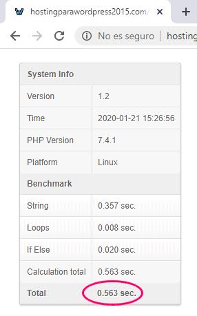 Prueba de benchmark PHP 7.4 en Raiola Networks