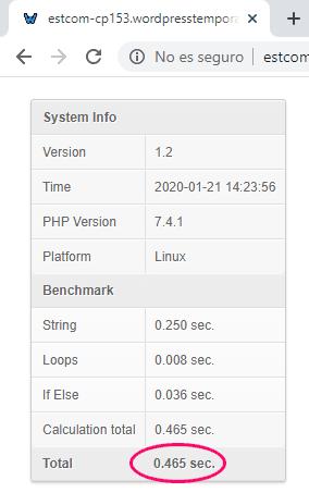 Prueba de benchmark PHP 7.4 en Webempresa