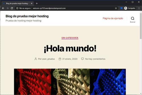 Sitio de prueba en WordPress
