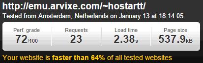 Velocidad de carga hosting Arvixe