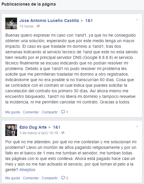 Más comentarios en Facebook 1and1