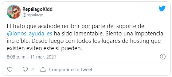 Tweet criticando el soporte IONOS 1and1