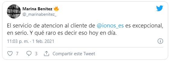 Tweet de cliente contento con el soporte IONOS 1and1