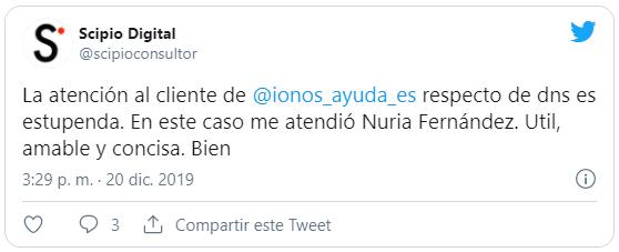 Tweet de otro cliente contento con el servicio de IONOS 1and1