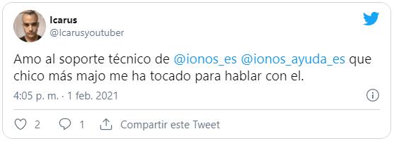 Tweet de otro cliente contento con el soporte de IONOS 1and1