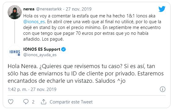 Tweet de otro usuario criticando el soporte IONOS 1and1