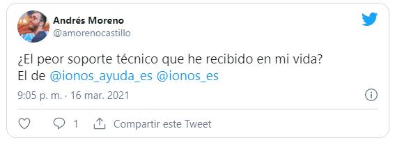 Tweet de usuarios criticando el soporte IONOS 1and1