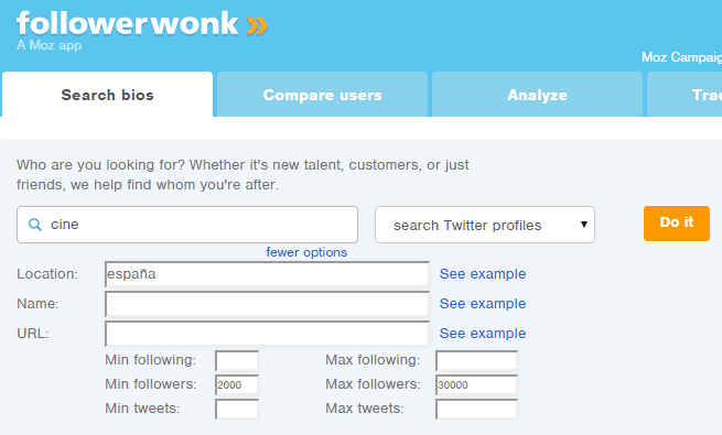 Búsqueda de influencers en followerwonk