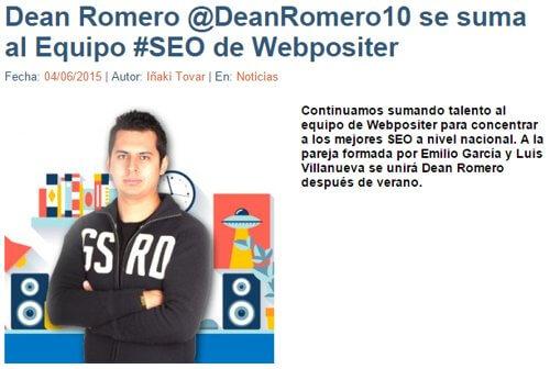 Dean Romero en Webpositer