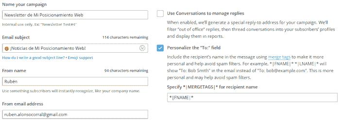 Configuración de campaña RSS en MailChimp