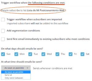Disparador de autorespondedor en MailChimp