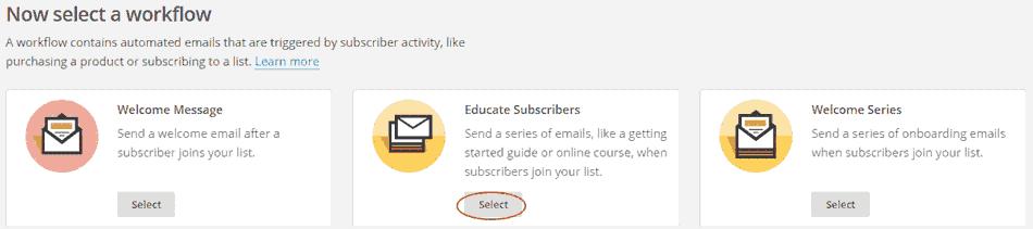 Elegir flujo de trabajo para autorespondedor en MailChimp