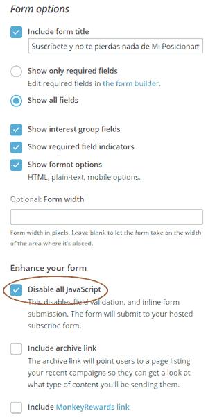 Opciones del formulario HTML clásico de MailChimp