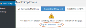 Página de formularios en MailChimp Forms