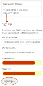 Registro en MailChimp Forms