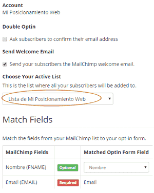 Sincronización del formulario simple en MailChimp Forms