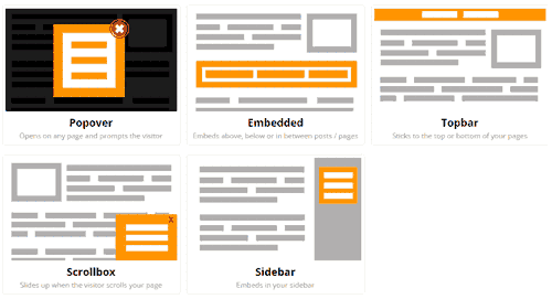 Tipos de formularios en MailChimp Forms