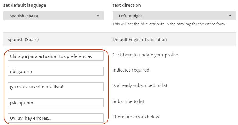 Traducciones en formularios de MailChimp
