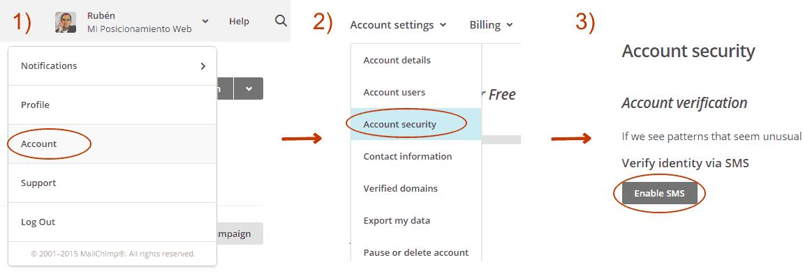 Verificación vía SMS en MailChimp