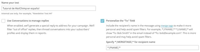 Configuración de campaña A/B Testing en MailChimp