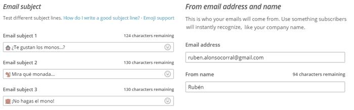 Configuración de asuntos en campaña A/B Testing en MailChimp
