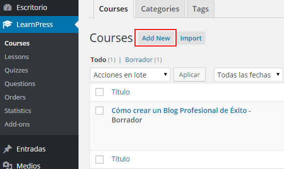 crear curso learnpress